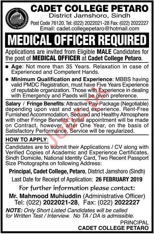 Cadet College Job 2019 For Medical Officer
