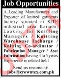 Crowntex Textile Ltd Knitting Manager Jobs