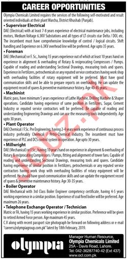Olympia Chemicals Lahore Jobs 2019 for Foreman & Machinist