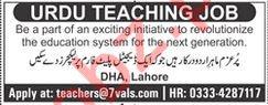 Urdu Teacher Jobs 2019 in Lahore