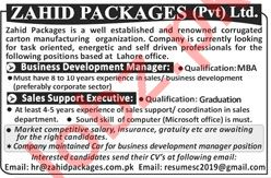 Zahid Packages Lahore Jobs for Sales Support Executive