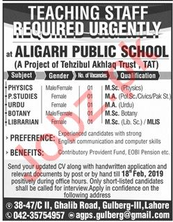 Aligarh Public School & College Lahore Jobs 2019 for Teacher