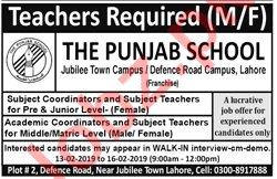 The Punjab School Lahore Jobs 2019 for Teachers
