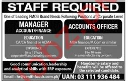 Manager Accounts, Manager Finance & Accounts Officer Jobs