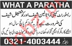What a Paratha Lahore Jobs 2019 for Italian Chef