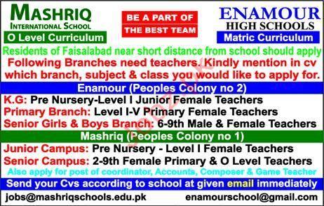 Mashriq International School Teaching Staff Jobs 2019