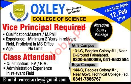 Qxley College of Science Vice Principal Jobs 2019