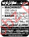 Machinist & Bakers Jobs 2019 in Lahore