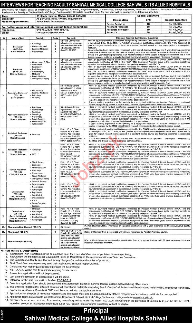 Sahiwal Medical College Jobs 2019 for Professor & Registrar