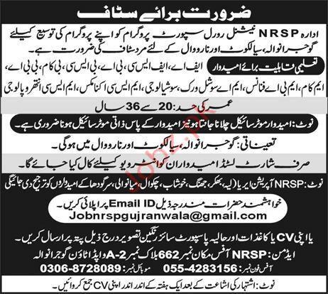 National Rural Support Programm NRSP Jobs 2019