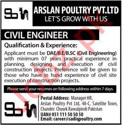 Arslan Poultry Rawalpindi Jobs 2019 for Civil Engineer