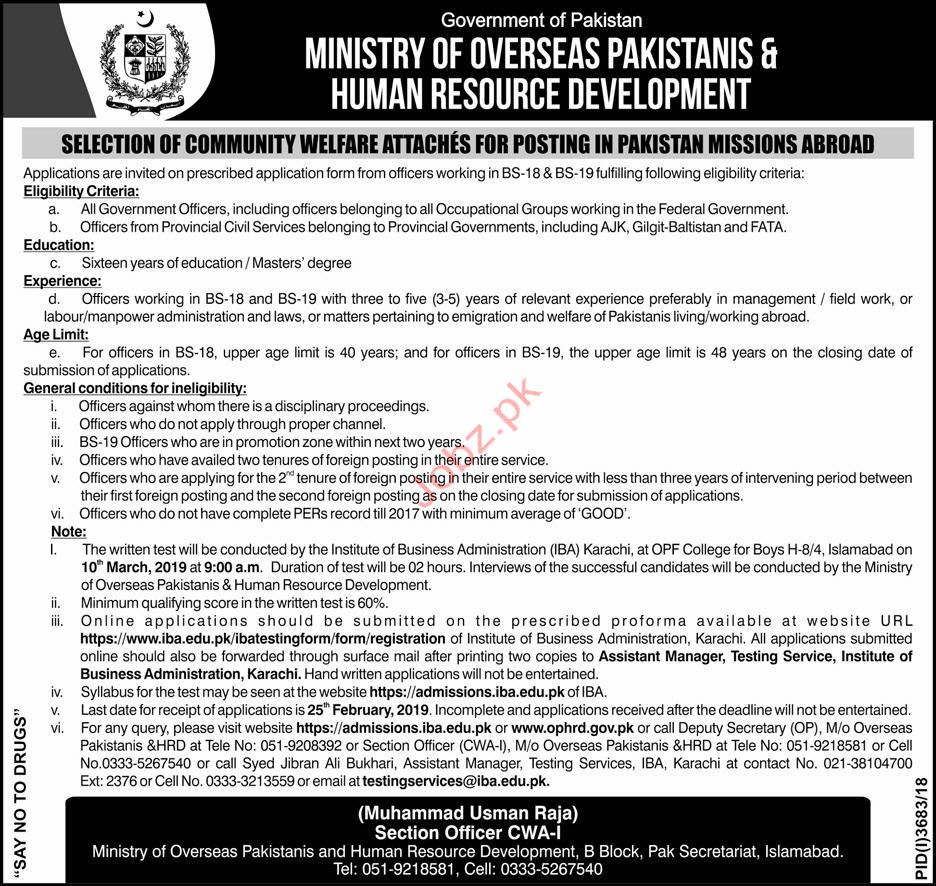 Ministry of Overseas Pakistan & Human Resource Jobs 2019