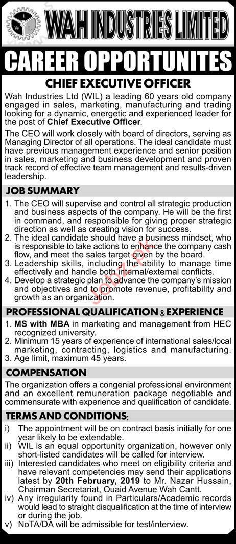 Wah Industries Limited Chief Executive Officer Jobs 2019