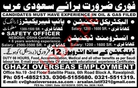 Electrical Technician, Pipe Fabricator & Safety Officer Jobs