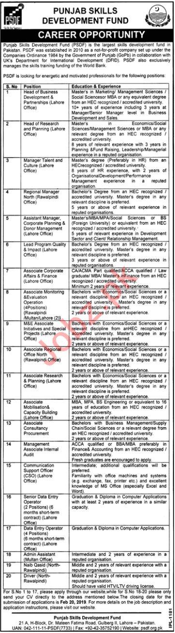 Punjab Skills Development Fund Jobs 2019