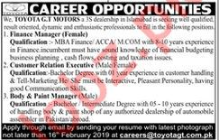 Toyota GT Motors Jobs 2019 in Islamabad