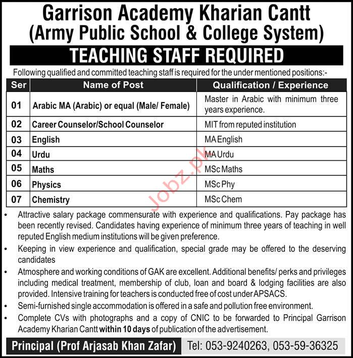 Garrision Academy Kharian Cantt Teaching Jobs 2019