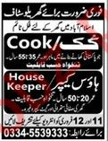 Cook & Housekeeper Jobs For House in Islamabad