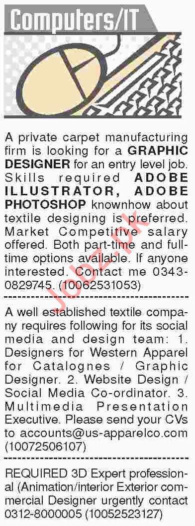 Dawn Sunday Classified Ads 10th Feb 2019 for IT Staff