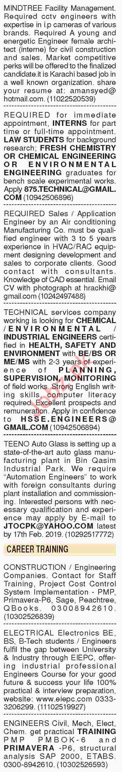 Dawn Sunday Classified Ads 10th Feb 2019 for Engineering