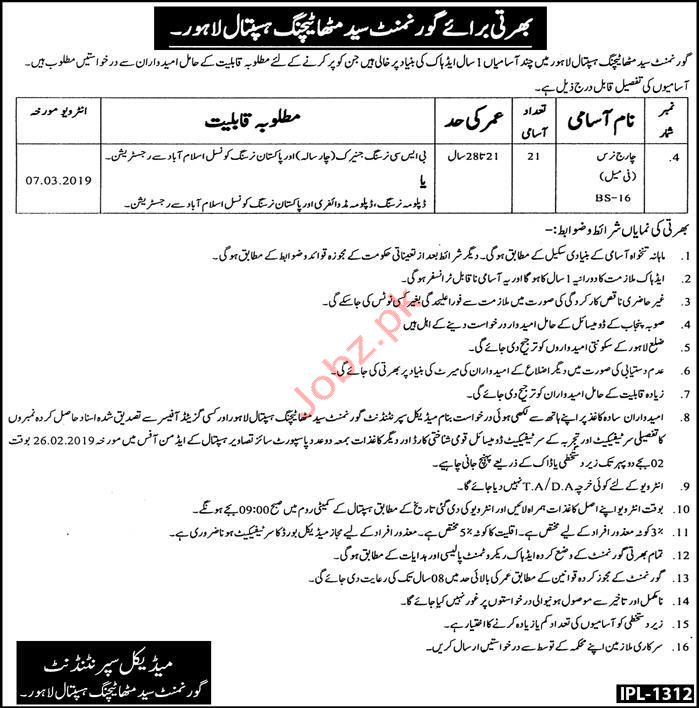 Charge Nurse Jobs in Syed Mitha Teaching Hospital