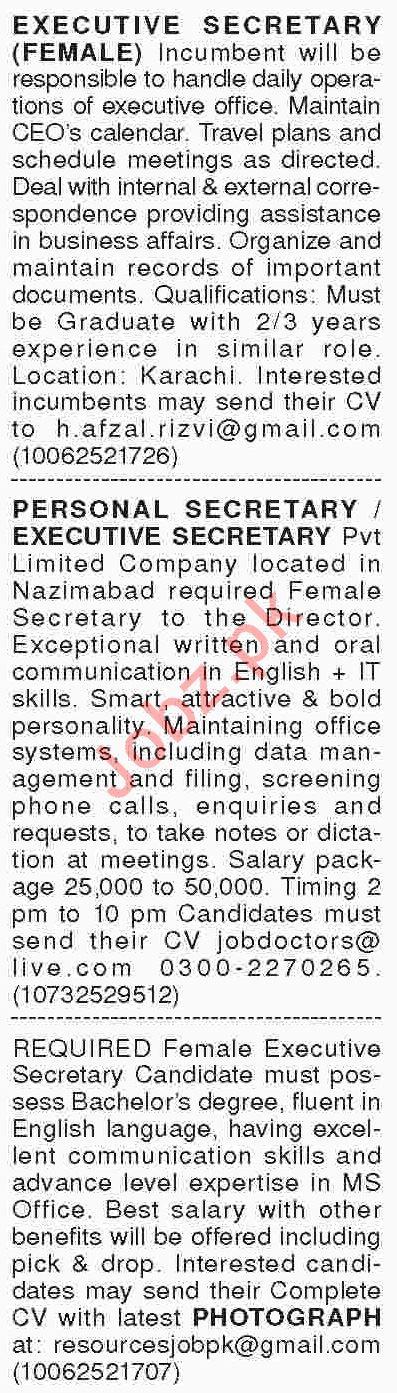 Dawn Sunday Classified Ads 10th Feb 2019 Secretarial Staff