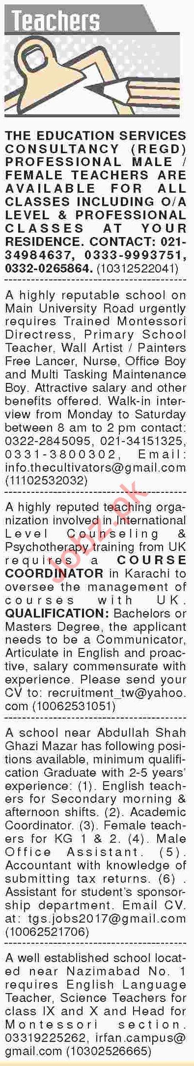 Dawn Sunday Classified Ads 10th Feb 2019 for Teaching Staff