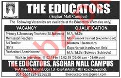 The Educators Asghar Mall Campus Jobs 2019
