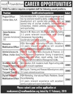 Read Foundation NGO Jobs 2019 in Rawalpindi