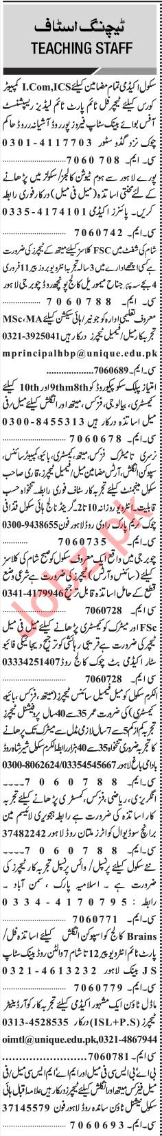 Jang Sunday Classified Ads 10th Feb 2019 for Teaching Staff