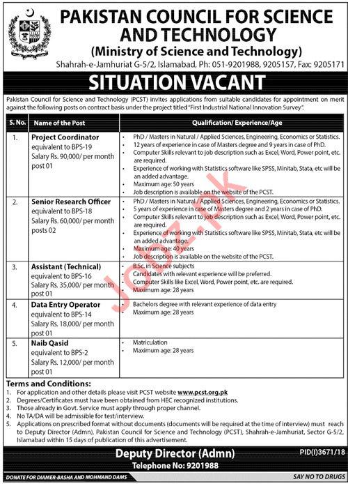 Pakistan Council For Science And Technology Jobs 2019