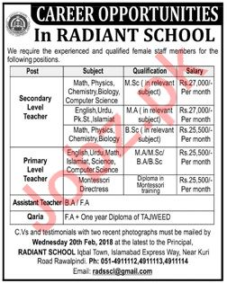 Radiant School Faculty Jobs 2019 in Rawalpindi