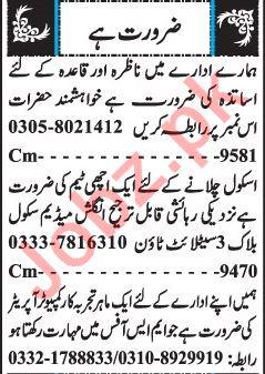 Male & Female Staff Jobs 2019 in Quetta