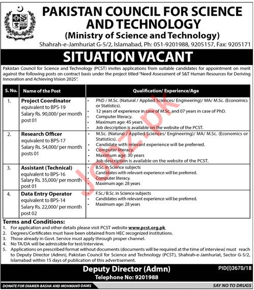 Ministry of Science And Technology Jobs 2019 in Islamabad