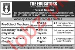 The Educators Teaching Jobs 2019 in Rawalpindi Cantt