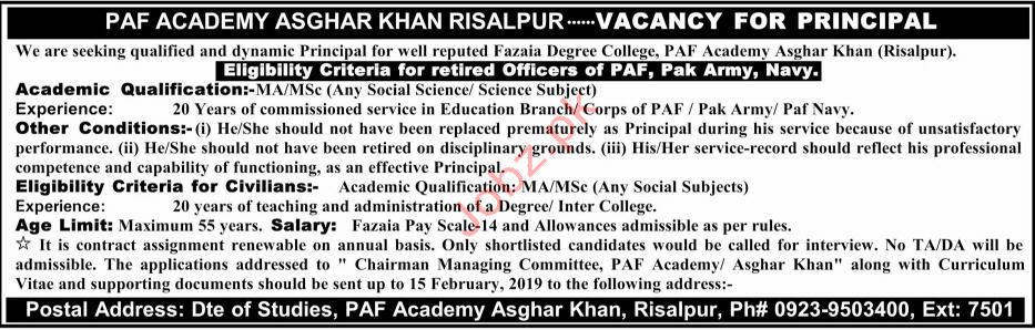 Pakistan Airforce Academy Principal Jobs 2019