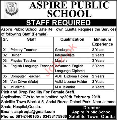 Aspire Public School Teaching Jobs 2019