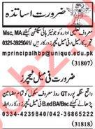 Nawaiwaqt Sunday Classified Ads 10th Feb 2019 for Teachers