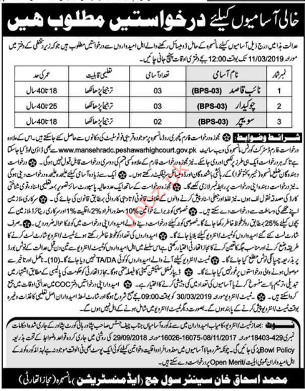 Clerical Jobs in Civil Court Mansehra