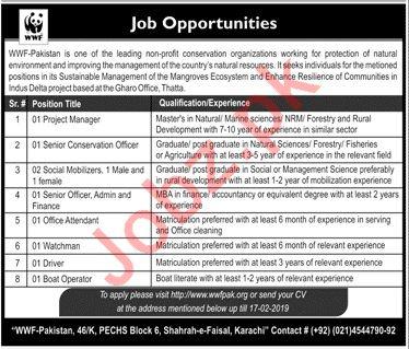 WWF Pakistan NGO Jobs 2019 For Karachi