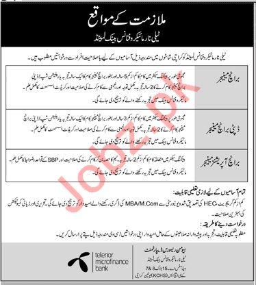 Telenor Microfinance Bank Ltd Jobs 2019 For Karachi