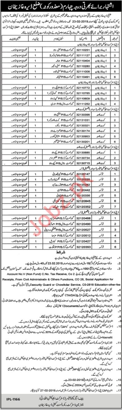 Education Department Job 2019 in Dera Ghazi DG Khan