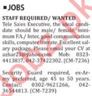 Telesales Executive & Security Guard Jobs 2019 in Lahore