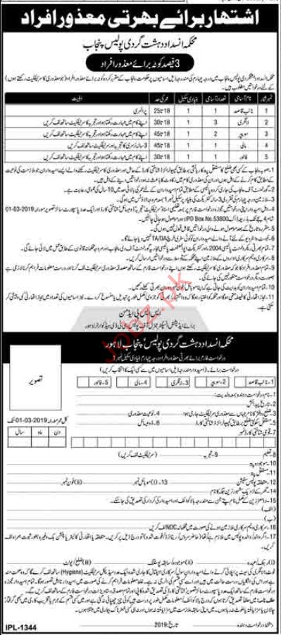 Counter Terrorism Police Punjab Clerical Jobs 2019