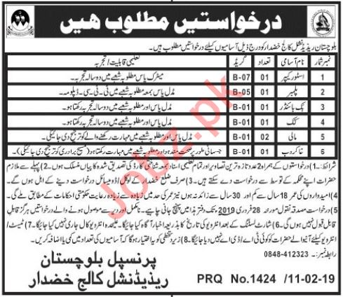 Balochistan Residential College Jobs 2019 in Khuzdar