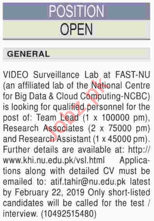FAST National University of Computer & Emerging Sciences Job