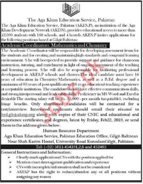 Aga Khan Education Services Karachi Jobs 2019 Coordinator
