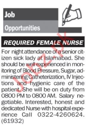 Female Nurse Jobs 2019 in Islamabad