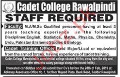 Cadet College Rawalpindi Teaching Staff Jobs 2019