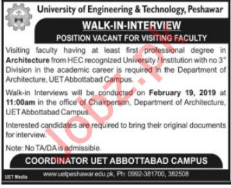University of Engineering & Technology UET Walk In Interview